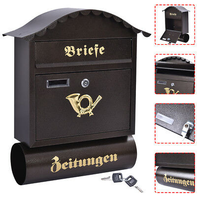 Large Post Box Steel Retro Letter Mailbox Wall Mounted Lockable Key Outdoor UK