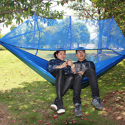 Double Outdoor Hammock Swing Bed Parachute Nylon w/Mosquito Net Travel Camping