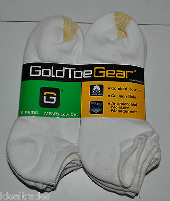 Gold Toe Mens Low Cut Peds Socks 12 Pairs Combed Cotton Cushion  New**