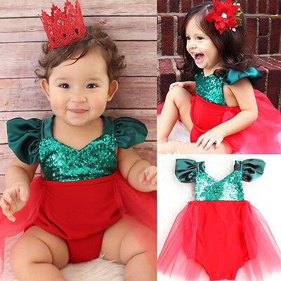 Christmas Cute Infant Baby Girl Romper Jumpsuit Tulle Tutu Sunsuit Outfits 0-3T