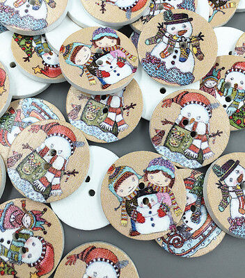 Christmas snowman Round Wooden Sewing Buttons scrapbooking decoration 25mm