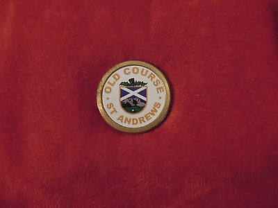 St Andrews Old Course Scotland White Golf Ball Marker With Back Peg