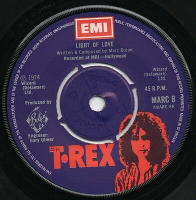 "MARC BOLAN*T.REX light of love*explosive mouth 1974 UK EMI 7"" 45"