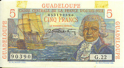 Guadeloupe French Colony 5 Francs ND 1947 P-31 Very High Grade AU+/UNC