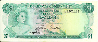 Government of Bahamas 1965 Currency Note Act One Dollar p-18a EF/AU 2 Signatures