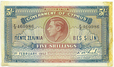 Government of Cyprus 1952 5 Shillings King George VI RARE Note EF+ Tape Marks