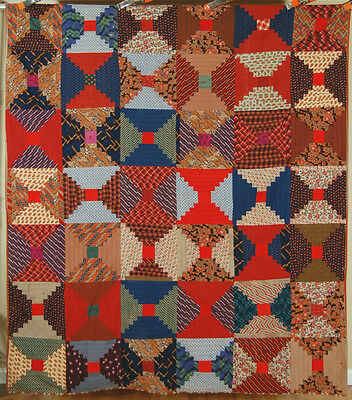 ELEGANT Vintage 1870's Wool Challis Courthouse Log Cabin Antique Quilt ~AMAZING!