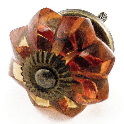 Glass Cabinet Door Knobs, Crystal Drawer Pull or Antique Brass Knob Set/2