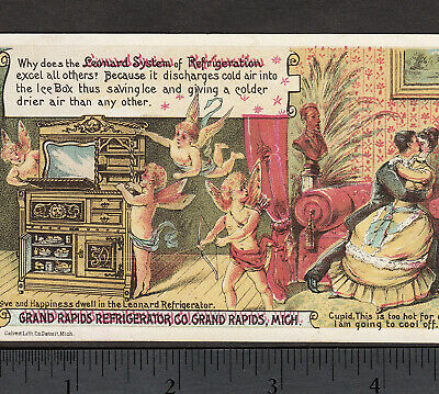 Leonard Ice Box Grand Rapids Refrigerator MI 1800s Cupid Lovers Advertising Card
