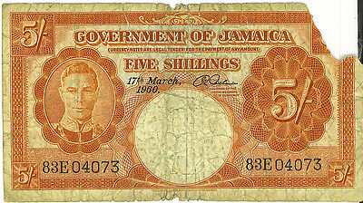 Government of Jamaica 1960 Five Shillings P-45 VG Missing Piece