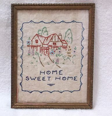 Antique  EMBROIDERY SAMPLER - HOME SWEET HOME - Framed - Embroidery