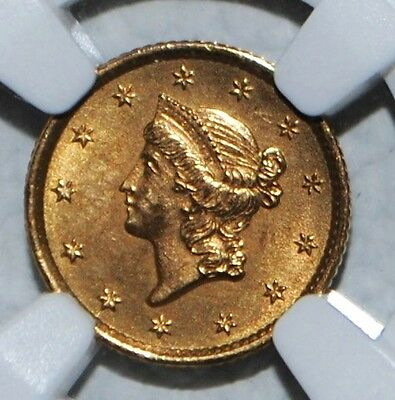 1854 One Dollar $1 Liberty Head Gold Coin NGC Type 1 Uncirculated Details
