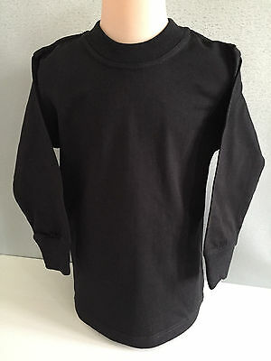 BNWT Boys/Girls Sz 12 LW Reid Pure Cotton Black Long Sleeve School/Sports Top