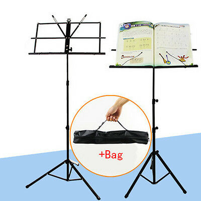 Folding Sheet Music Metal Stand Holder with Carry Case Gig Bag High Quality