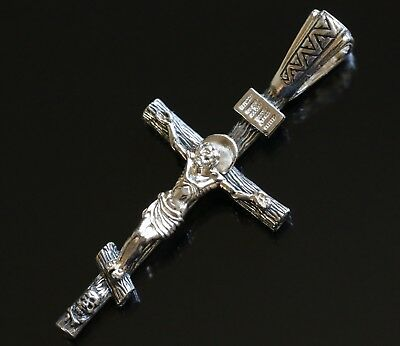 Siilver 925 Russian Crucifix. Save and Protect Prayer. New Orthodox Jewelry