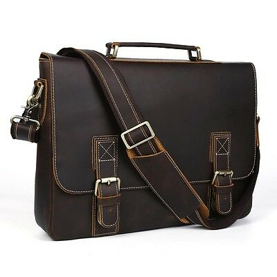 "Men Genuine Leather 16"" Laptop Attache Briefcase Business Shoulder Messenger Bag"