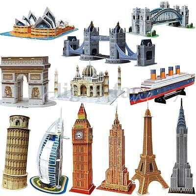 3D Jigsaw Educational Puzzle Carboard Building Model No-Glue DIY Toy Decor Gift