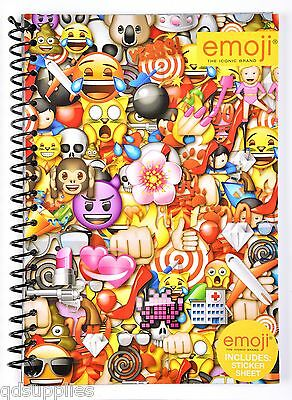 A5 Emoji Note Book Spiral Wire Bound Lined Paper With Stickers Stationery EMSNB