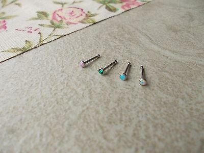 1x 7mm Opal Surgical steel Nose Stud, ball fix,1mm thick,2mm Opal Stone