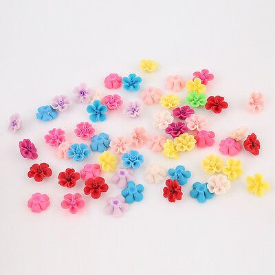 20x Mixed Color FIMO Polymer Clay Flower Heart Shape Petals Fit Jewelry Making C