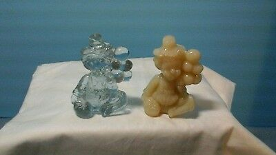 Pair Of Small Glass Clowns Solid Color, Clear Possibly Murano