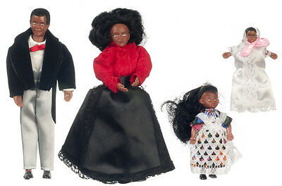 dolls house figures bendy and poseable ethnic Victorian Family