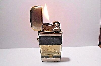 Retro Small Size Gold Tone Scripto Vu Lighter Black Band With Gold Horse
