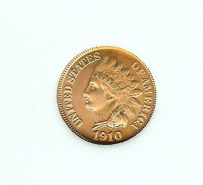 1910-D Indian Head Cent - Die State 8 - Fantasy   Near Perfect Uncirculated Red