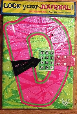 "Justice Girl's Glitter Initial ""D"" Passcode Journal NEW"
