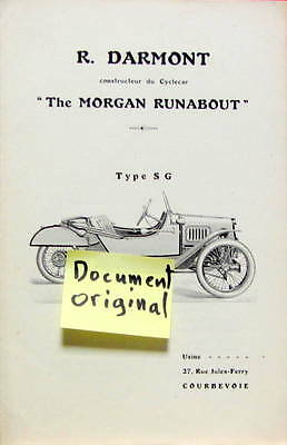 Darmont Constructeur Du Cyclecar The Morgan Runabout Type Sg Catalogue Original