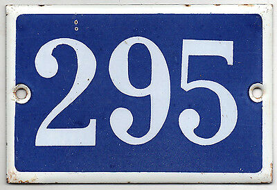 Old blue French house number 295 door gate plate plaque enamel steel metal sign
