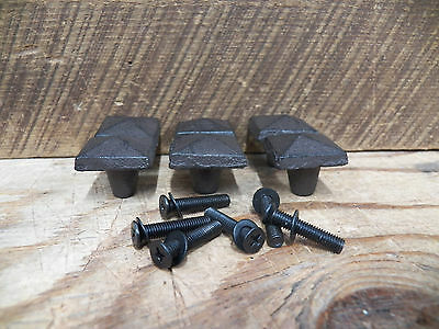 "Lot of 6 Very Primitive & Rustic SQUARE-ISH KNOBS Drawer Door PULL 1"" x  1"" x 1"""