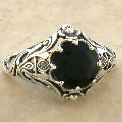 Genuine Black Agate Art Nouveau 925 Sterling Antique Style Silver Ring Sz 5,#761