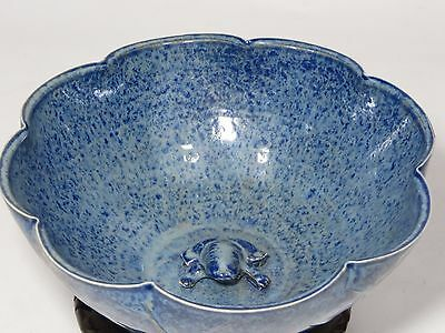 "Rare gorgeous Chinese 7 1/2"" blue bowl with frog"