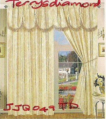 2 Sets(4) BNIP JACQUARD Beige/Gold CURTAINS (new)