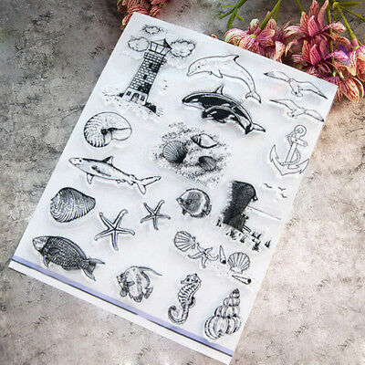 Marine life Sheet Transparent Silicone Clear Stamp Cling Seal Scrapbooking DIY