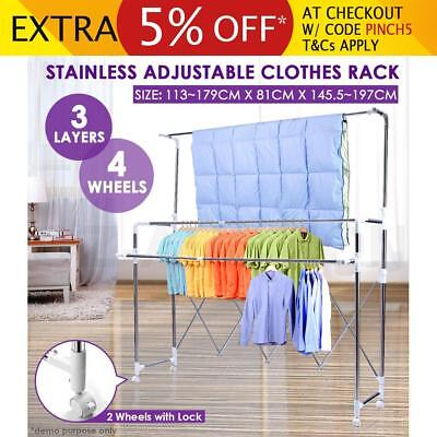 Stainless Clothes Airer Rack Hanger Dryer Adjustable Length & Height Portable