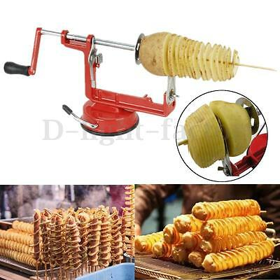 Manual Red Stainless Steel Twisted Potato Slicer Spiral French Fry Cutter Blade