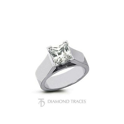 0.51ct E-SI1 VG Princess Genuine Diamond 18k Gold Cathedral Solitaire Ring 5.5mm