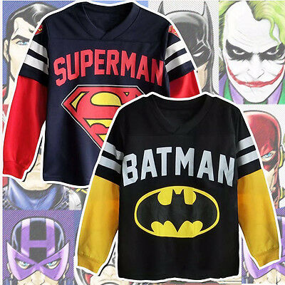 US 1-7Y Batman Superman Para Niños Suéter Cartoon Camiseta Manga Larga Sudaderas
