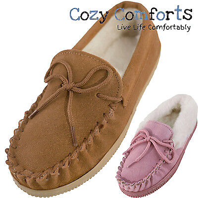 Childrens Wool Lined Moccasin with Suede Upper and Non-slip Sole - Camel, Pink