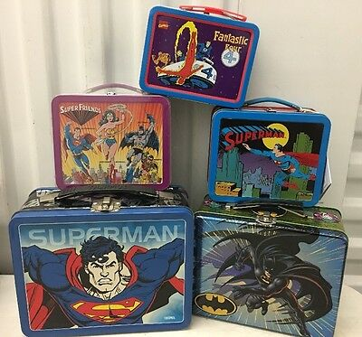 Lot Of Collectable Batman & Superman Fantastic 4 Lunch Boxes & Minis Too