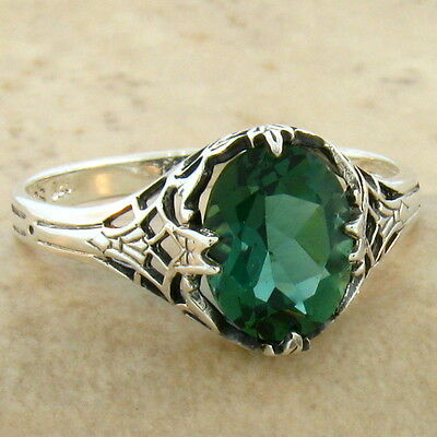 Green Lab Amethyst 925 Sterling Victorian Antique Design Silver Ring Size 9,#766