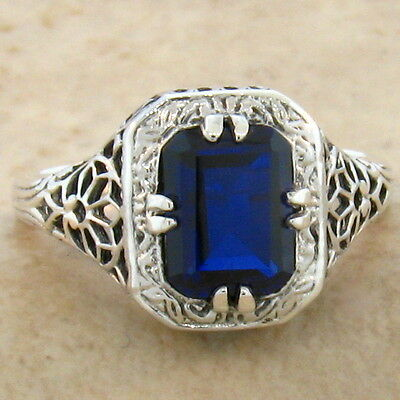 Blue Lab Sapphire .925 Sterling Vintage Antique Style Silver Ring Size 7.75,#793