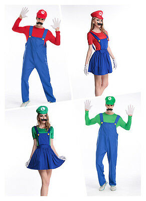 Mens&Wonens Super Mario and Luigi Bros Fancy Dress Costume Outfit Cosplay Party