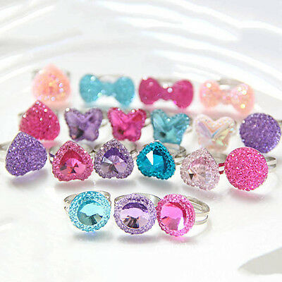 5pcs Girls Children Jewelry Ring Crystal Butterfly Heart Bright Drill Adjustable