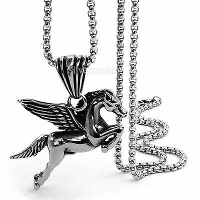 Men Boy Silver Pegasus Flying Horse Stainless Steel Pendant Chain Necklace Set