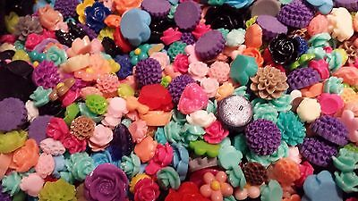 50  ACRYLIC CABOCHON/FLATBACK  FLOWER SHAPES-For Hairclips/rings/brooches etc