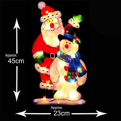 Premier Light Up INDOOR Christmas Window Silhouette - Santa-Snowman