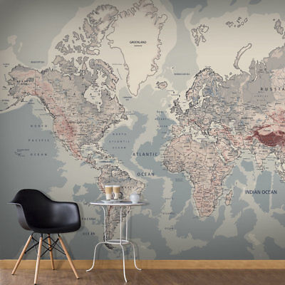 WALLPAPER XXL NON-WOVEN HUGE PHOTO WALL MURAL ART PRINT WORLD MAP k-A-0061-a-c